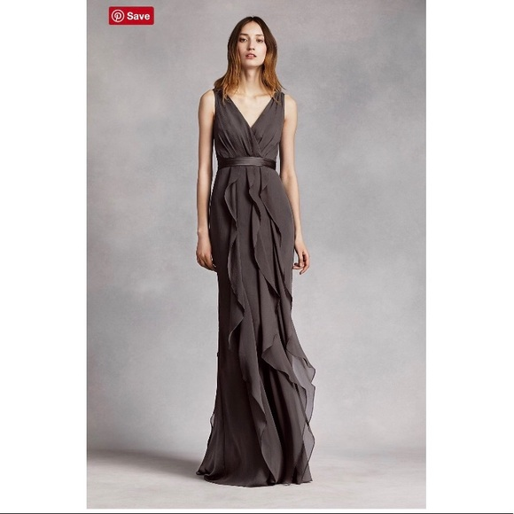 David s Bridal Dresses   Skirts - David s Bridal charcoal grey formal dress 50821b11f